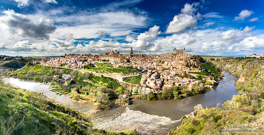Toledo city panorama with river Tajo