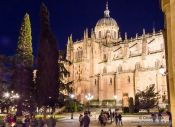 Travel photography:Salamanca Cathedral by night, Spain