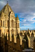 Travel photography:Battlements of Salamanca cathedral at sunset, Spain