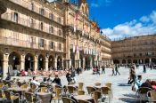 Travel photography:Café on the Plaza Mayor (main square) in Salamanca, Spain