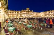 Travel photography:Street cafés on the Plaza Mayor in Salamanca by night, Spain