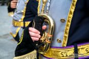 Travel photography:Musical procession during the Semana Santa in Salamanca, Spain