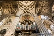 Travel photography:Main organ inside the New Cathedral in Salamanca, Spain
