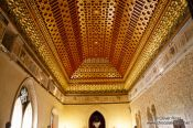 Travel photography:Ornate ceiling inside the Alcazar castle in Segovia, Spain