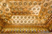 Travel photography:Ornate ceiling in the old meeting room of the Alcazar castle in Segovia, Spain