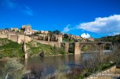 Travel photography:Panorama of Toledo with the Bajada San Martin and Tajo river, Spain