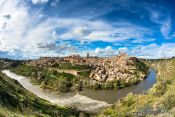 Travel photography:Fisheye panorama of Toledo surrounded by the Tajo river, Spain