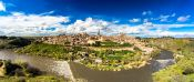 Travel photography:Toledo city panorama with river Tajo, Spain