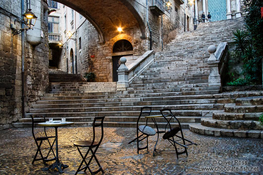 Square in Girona`s histoical old town