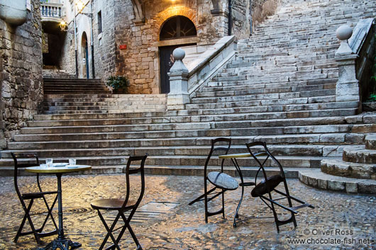 Square in Girona`s historical old town