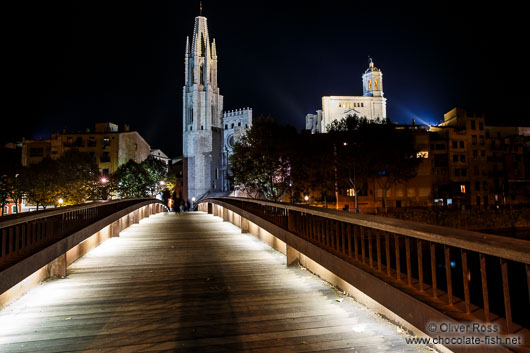 Girona cathedral by night