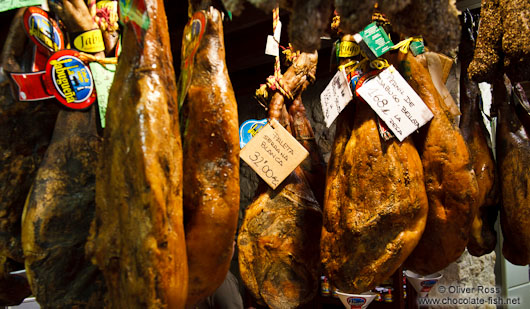 Ham in a delicatessen shop in Pals
