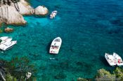 Travel photography:Motor boats in a bay on the Costa Brava, Spain