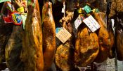 Travel photography:Ham in a delicatessen shop in Pals, Spain