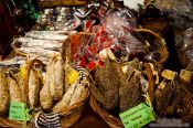 Travel photography:Sausages for sale in a delicatesseen shop in Pals, Spain
