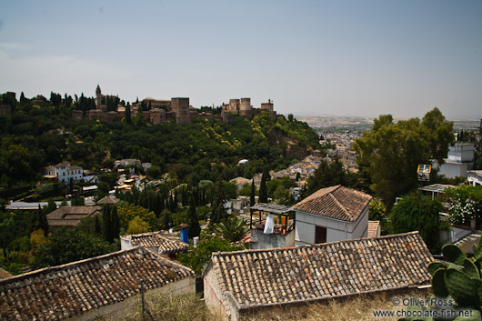 View of the Alhambra from Granada`s Sacromonte district
