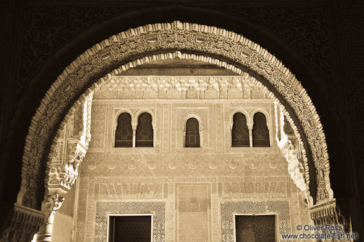 Archway in the Nazrin palace in the Granada Alhambra