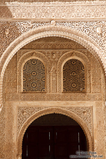 Arabesque facade detail in the Nazrin palace in the Granada Alhambra