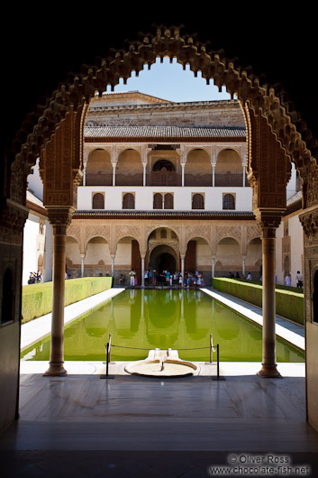 Patio de los Arrayanes (Court of the Myrtles), also called the Patio de la Alberca (Court of the Blessing or Court of the Pond) in the Nazrin palace of the Granada Alhambra