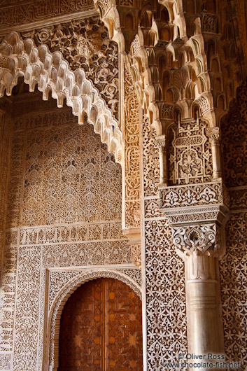 Facade detail in the Patio de los Leones (Court of the Lions) of the Nazrin palace in the Granada Alhambra