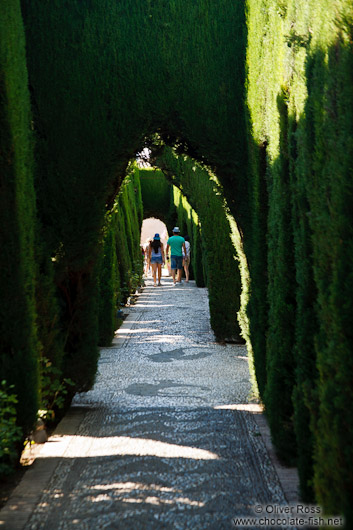Labyrinth garden in the Generalife of the Granada Alhambra