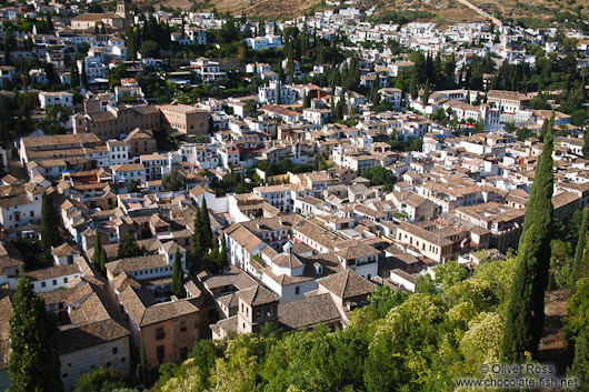 View of Granada`s Albayzin district from the Alhambra Alcazaba fortress