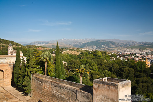 View towards the Sierra Nevada from the Alcazaba fortress of the Granada Alhambra