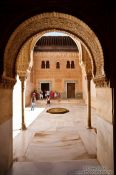 Travel photography:Courtyard with fountain in the Nazrin palace of the Granada Alhambra, Spain