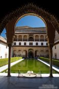 Travel photography:The Patio de los Arrayanes (Court of the Myrtles), also called the Patio de la Alberca (Court of the Blessing or Court of the Pond) in the Nazrin palace of the Granada Alhambra, Spain