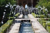 Travel photography:Water fountain in the Palacio de Generalife of the Granada Alhambra, Spain