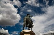 Travel photography:Statue of king Philip III in Madrid´s Plaza Mayor, Spain