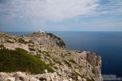 Travel photography:View of the cape and light house at Cap Formentor, Spain