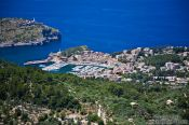 Travel photography:Aerial view of Port de Soller, Spain
