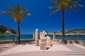 Travel photography:Sculptures at the sea side promenade in Port de Soller, Spain