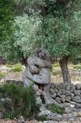 Travel photography:Human embrace sculpted by an olive tree near Son Marroig, Spain