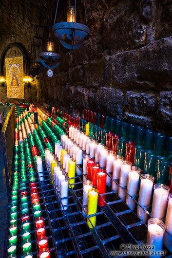Row of candles at Montserrat monastery