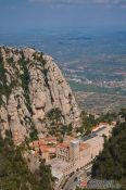 Travel photography:Panoramic view of the Montserrat monastery, Spain