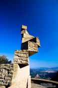 Travel photography:Sculpture by Ramon Llull at Montserrat monastery, Spain