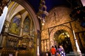 Travel photography:Inside the main church in Montserrat monastery, Spain