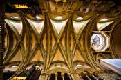 Travel photography:Roof construction inside the main church at Montserrat monastery, Spain