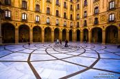 Travel photography:Courtyard outside the main church at Montserrat monastery, Spain
