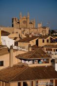 Travel photography:View of the Palma cathedral La Seu and old town during sun set, Spain