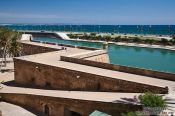 Travel photography:View of Palma bay and the old city wall, Spain