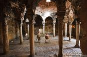 Travel photography:Inside the old Arabic Baths in Palma, Spain