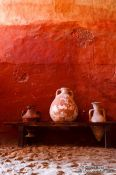 Travel photography:Old clay pots inside the Arabic Baths in Palma, Spain