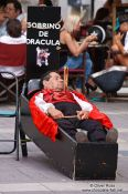 Travel photography:Busker on the Plaza Major in Palma, Spain