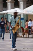 Travel photography:Busker on Plaza Major in Palma, Spain