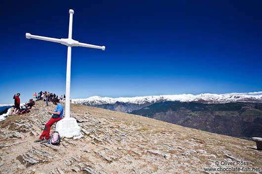 Summit cross on Taga mountain in the Pyrenees