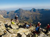 Travel photography:Hikers on their ascent to the Aneto mountain, Spain