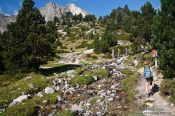 Travel photography:Hikers near the Pic de Bastiments, Spain